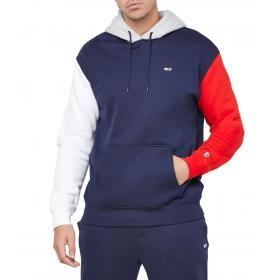 Felpa Tommy Jeans con cappuccio regular fit color block da uomo rif. DM0DM07259