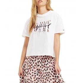T-shirt Tommy Jeans crop con logo sul petto da donna rif. DW0DW06718