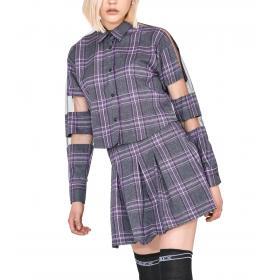 Camicia Pyrex corta con inserto in tulle e logo paillettes da donna rif. 19IPC40639