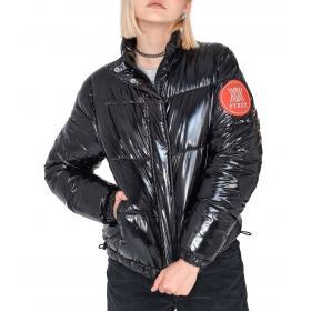 Giubbotto Bomber Pyrex lucido con patch sulla manica da donna rif. 19IPC40686