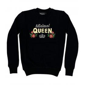 Felpa Minimal Couture girocollo con stampa queen con ricamo da donna rif. D1725