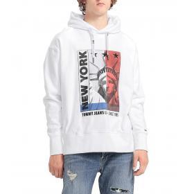 Felpa Tommy Hilfiger Jeans con cappuccio e stampa da uomo rif. DM0DM07045