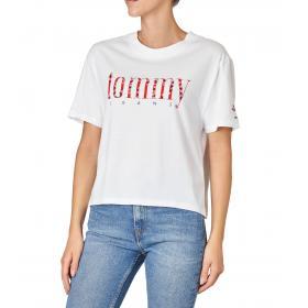 T-shirt Tommy Hilfiger Jeans con stampa fantasia fiorellini da donna rif. DW0DW06713