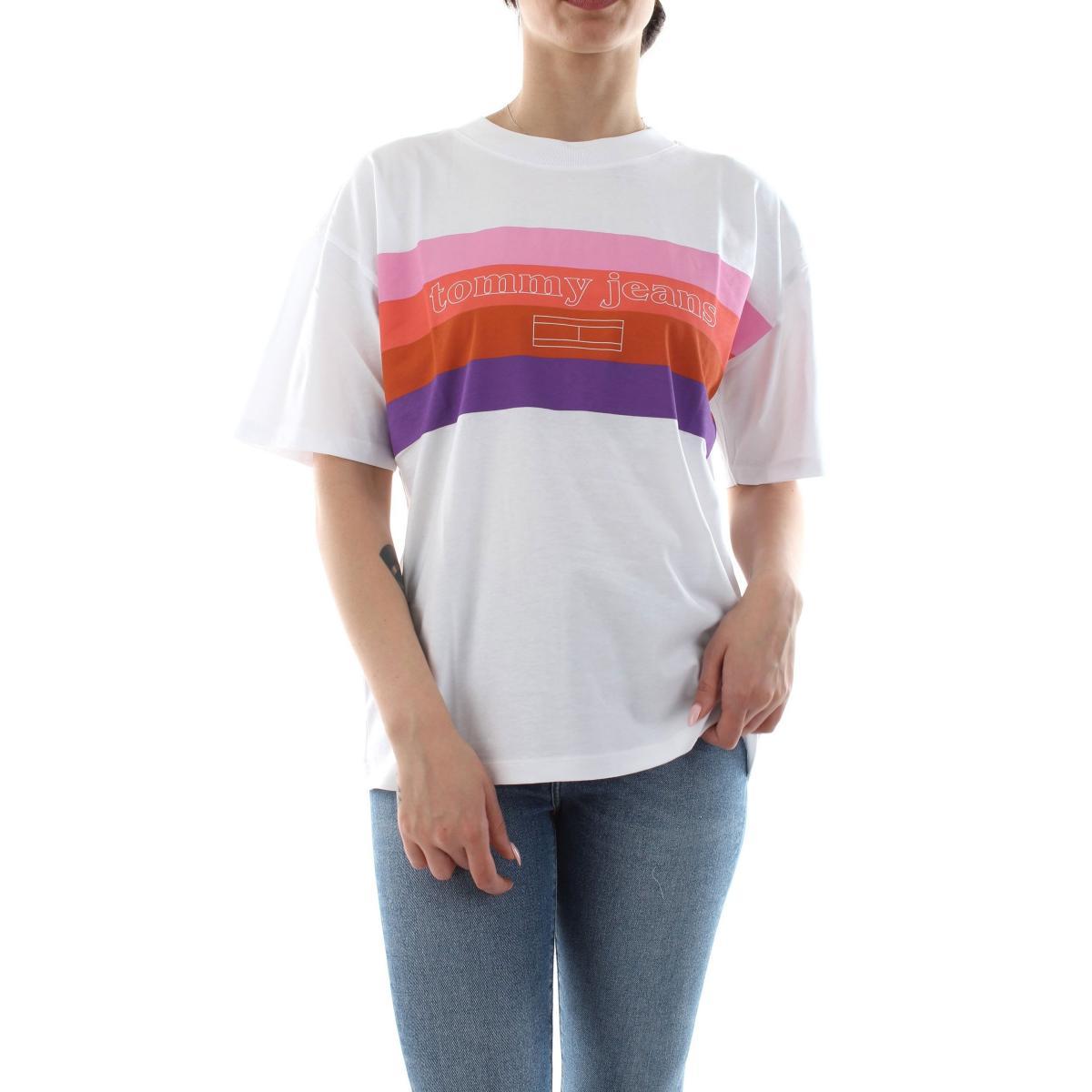 T-shirt Tommy Hilfiger Jeans con stampa colorblock da donna rif. DW0DW06719