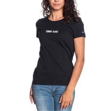 T-shirt Tommy Hilfiger Jeans con logo e stampa sul retro da donna rif. DW0DW06720