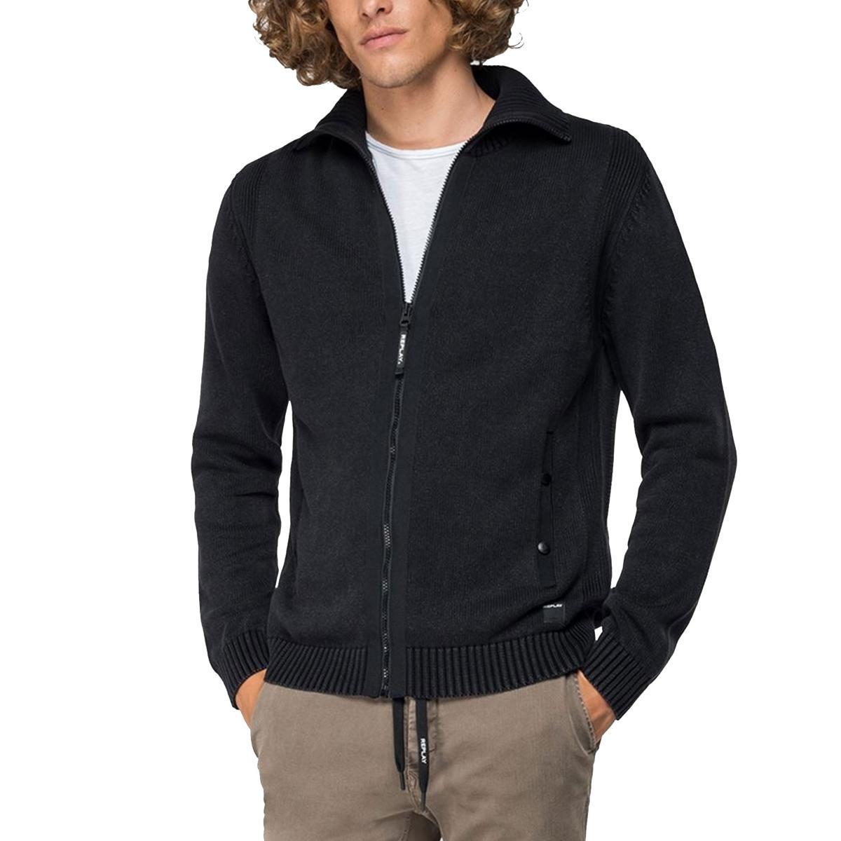 Cardigan felpa Replay in puro cotone con zip da uomo rif. UK3052.000.G21280G