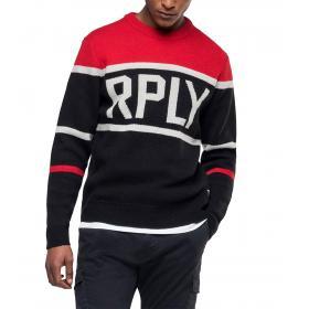 Maglione Replay con stampa tricolore RPLY da uomo rif. UK3070.000.G2897J