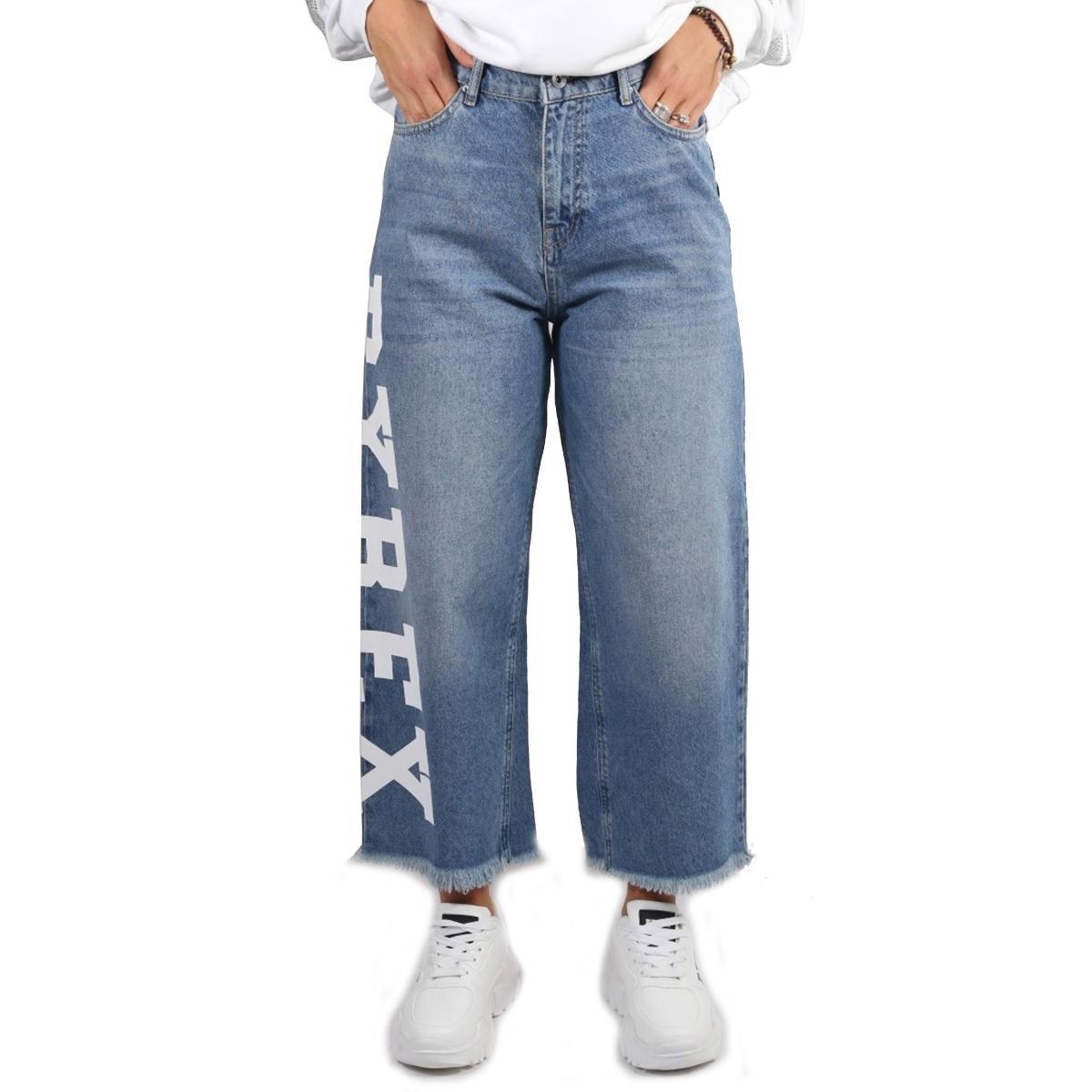 Jeans Pyrex con maxi logo sulla gamba da donna rif. 19IPC40662