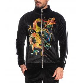 Felpa Minimal Couture in ciniglia con stampa dragone da uomo rif. U2175