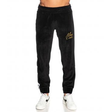 Pantaloni Minimal Couture in ciniglia con ricami con logo da uomo rif. U2176
