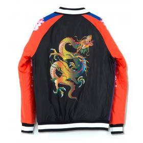 Giubbotto Bomber Minimal Couture con stampa dragone unisex rif. U2193