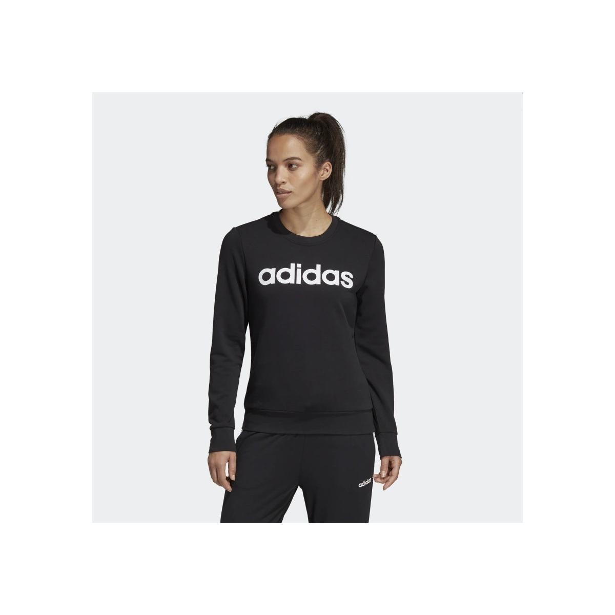Felpa Adidas Essentials Linear girocollo con stampa da donna rif. DP2363