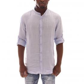 Camicia con colletto alla coreana 100% lino primaverile diversi colori da uomo rif. COREANO