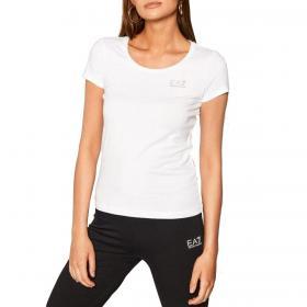 T-shirt Emporio Armani EA7 con logo di strass da donna rif. 8NTT64 TJ28Z