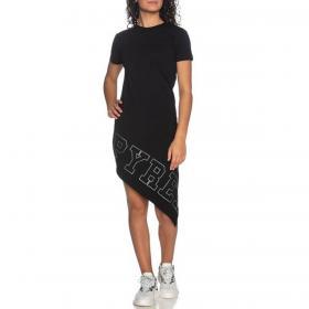 Vestito Abito Pyrex con fondo asimmetrico e maxi stampa con strass da donna rif. 20EPC41051
