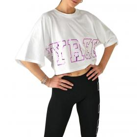 T-shirt Pyrex corta con maxi stampa laminata da donna rif. 20EPB40848