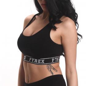 Top Pyrex con fondo elastico con logo glitterato da donna rif. 20EPB40815