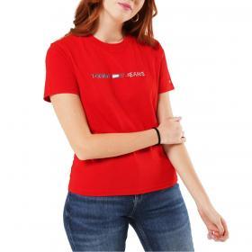T-shirt Tommy Jeans in morbido jersey di cotone biologico da donna rif. DW0DW08486