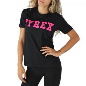 T-shirt Pyrex girocollo con stampa fluo sul petto da donna rif. 20IPB41453