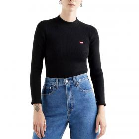 Maglia Levi's Crew Rib Sweater Caviar con mini logo da donna rif. 21967-0001