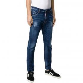 Jeans Dsquared2 in denim blu con toppa con logo da uomo rif. S71LB0606