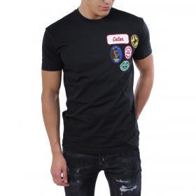 T-shirt Dsquared2 girocollo con toppe logate da uomo rif. S71GD0716