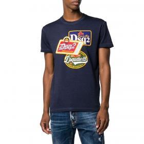 T-shirt Dsquared2 girocollo con stampe logate sul petto da uomo rif. S74GD0581