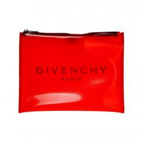 Pochette Givenchy in PVC con maxi logo a tinta unita unisex rif. BK600JK0JA