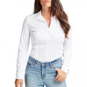 Camicia Guess con logo strass sul petto da donna rif. W0YH41WAF10
