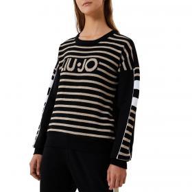 Felpa Liu-Jo con logo e dettagli in lurex da donna rif. TF0065F0827