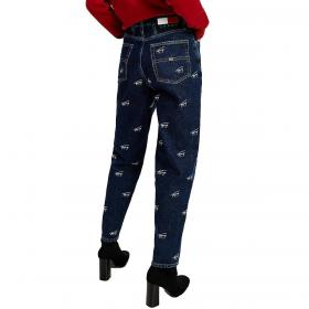 Jeans Tommy Jeans mom fit a vita alta con logo all over da donna rif. DW0DW09028