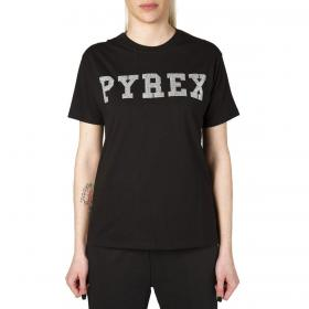 T-shirt Pyrex girocollo con stampa lurex sul petto da donna rif. 20IPB34234