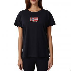 T-shirt Napapijri Shea con logo ricamato a maniche corte da donna rif. NP0A4EOK