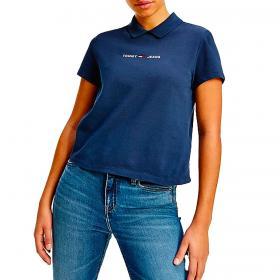 Polo Tommy Jeans con logo ricamato sul petto da donna rif. DW0DW09909