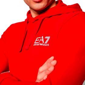 Felpa Emporio Armani EA7 con logo e maxi stampa sul retro da uomo rif. 3KPM31 PJ8LZ