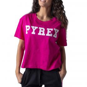 T-shirt Pyrex girocollo corta con stampa sul petto da donna rif. 20EPB34222