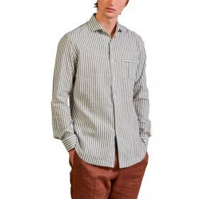 Camicia Outfit in lino a righe regular fit con taschino da uomo rif. OF1S2S1C032
