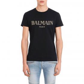 T-shirt Balmain in cotone con logo dorato da uomo rif. UH11601 I312