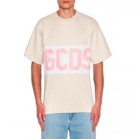 T-shirt GCDS girocollo con banda con logo da uomo rif. CC94M021014