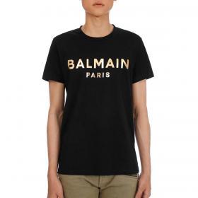 T-shirt Balmain Paris in cotone con logo effetto metallizzato da uomo rif. VH0EF000 B065