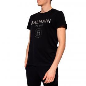 T-shirt Balmain con stampa logo argento in cotone da uomo rif. VH0EF000 B066