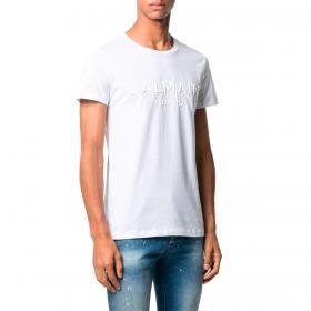 T-shirt Balmain Paris basic con logo goffrato da uomo rif. VH1EF000B038