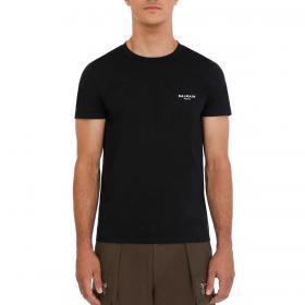 T-shirt Balmain Paris con piccolo logo in velluto da uomo rif. VH1EF00B069