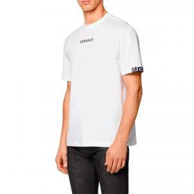 T-shirt Versace con logo ricamato e dettagli Greca da uomo rif. A88650 A235263