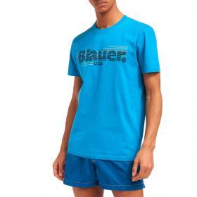 T-shirt Blauer USA con stampa logo rigato da uomo rif. 21SBLUH02334-004547