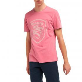 T-shirt Blauer USA con stampa scudo tagliato da uomo rif. 21SBLUH02392-005321
