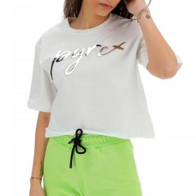 T-shirt Pyrex corta con stampa in rilievo da donna rif. 21EPB42064
