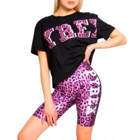 Completo corto Pyrex con stampa leopardata in tuta da donna rif. 21EPB42255
