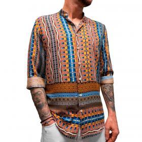 Camicia Over-D colletto alla coreana con stampa multicolore da uomo rif. OM718CM