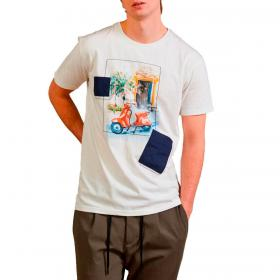 T-shirt Outfit girocollo con stampa Vespa da uomo rif. OF1S2S1T016